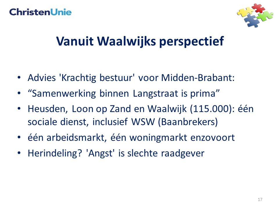 Vanuit Waalwijks perspectief Advies Krachtig bestuur voor Midden-Brabant: Samenwerking binnen Langstraat is prima Heusden, Loon op Zand en Waalwijk (115.000): één sociale dienst, inclusief WSW (Baanbrekers) één arbeidsmarkt, één woningmarkt enzovoort Herindeling.
