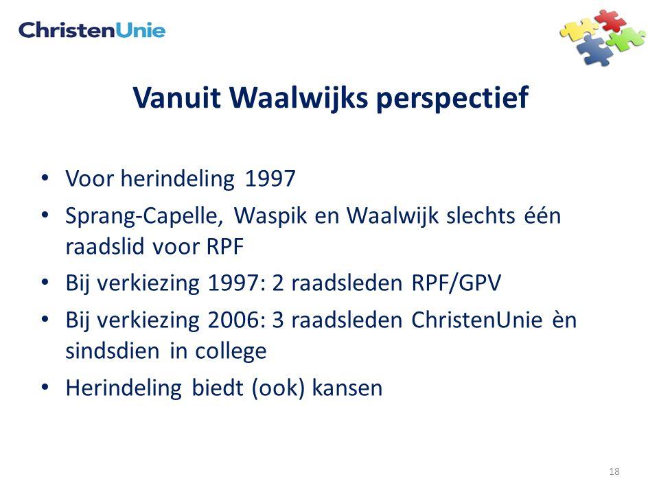 Vanuit Waalwijks perspectief Voor herindeling 1997 Sprang-Capelle, Waspik en Waalwijk slechts één raadslid voor RPF Bij verkiezing 1997: 2 raadsleden RPF/GPV Bij verkiezing 2006: 3 raadsleden ChristenUnie èn sindsdien in college Herindeling biedt (ook) kansen 18