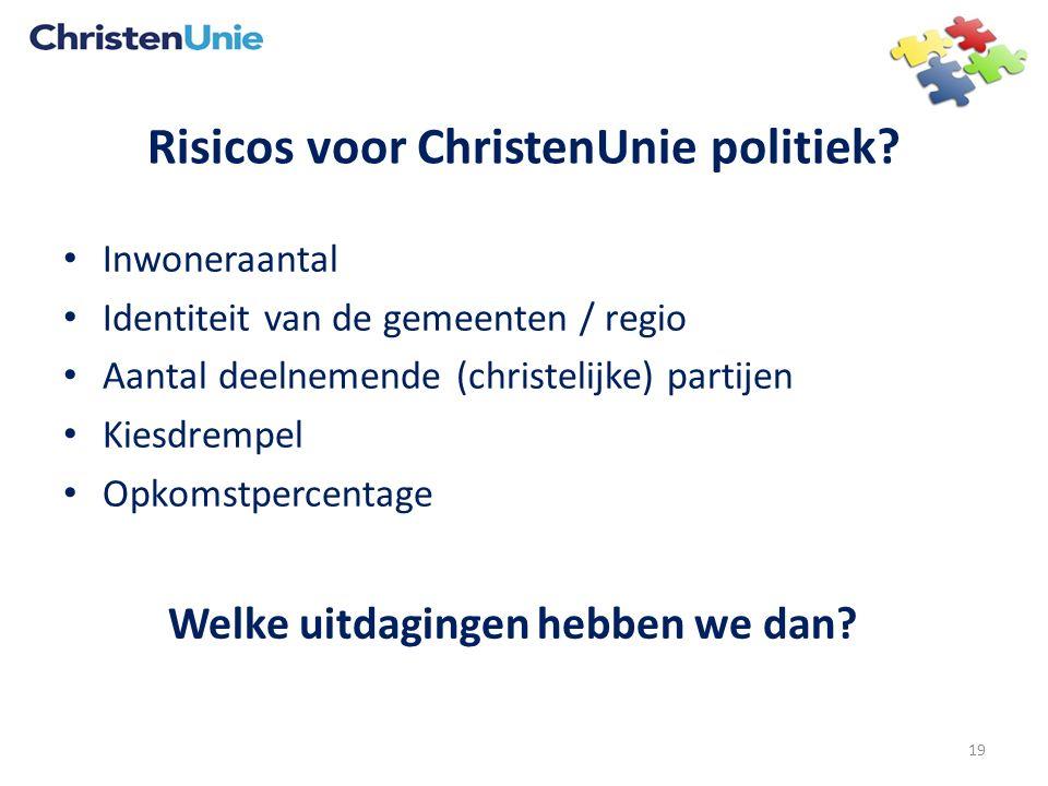 Risicos voor ChristenUnie politiek? Inwoneraantal Identiteit van de gemeenten / regio Aantal deelnemende (christelijke) partijen Kiesdrempel Opkomstpe