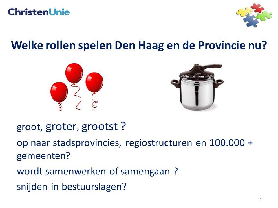 Welke rollen spelen Den Haag en de Provincie nu? groot, groter, grootst ? op naar stadsprovincies, regiostructuren en 100.000 + gemeenten? wordt samen