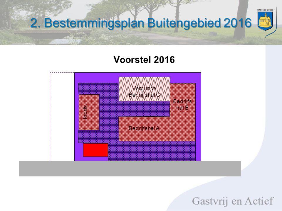 2. Bestemmingsplan Buitengebied 2016 Bedrijfshal A loods Voorstel 2016 Bedrijfs hal B Vergunde Bedrijfshal C