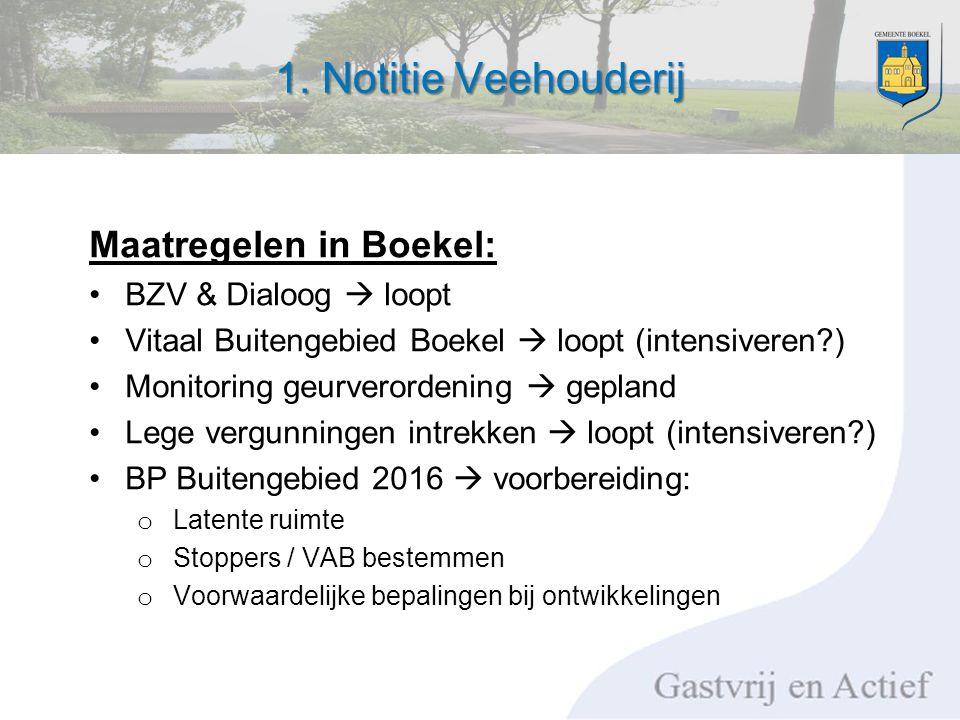 1. Notitie Veehouderij Maatregelen in Boekel: BZV & Dialoog  loopt Vitaal Buitengebied Boekel  loopt (intensiveren?) Monitoring geurverordening  ge