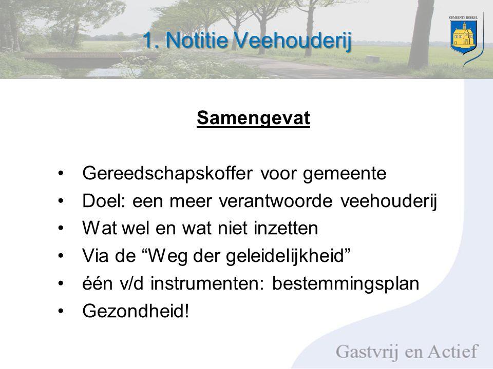 """1. Notitie Veehouderij Samengevat Gereedschapskoffer voor gemeente Doel: een meer verantwoorde veehouderij Wat wel en wat niet inzetten Via de """"Weg de"""