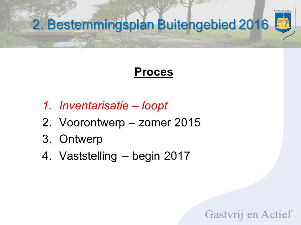 2. Bestemmingsplan Buitengebied 2016 Proces 1.Inventarisatie – loopt 2.Voorontwerp – zomer 2015 3.Ontwerp 4.Vaststelling – begin 2017