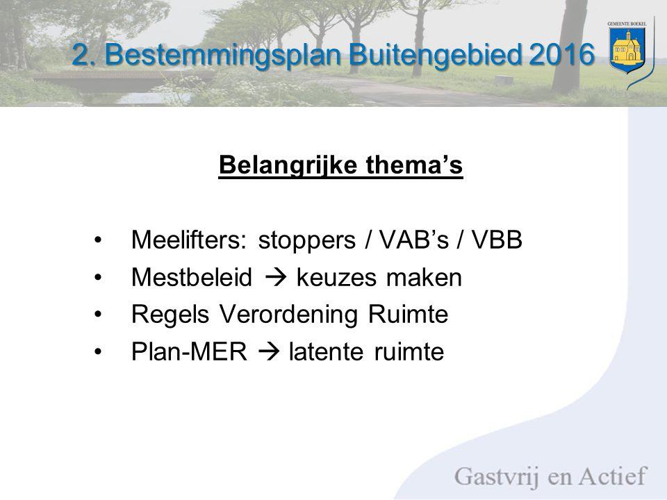2. Bestemmingsplan Buitengebied 2016 Belangrijke thema's Meelifters: stoppers / VAB's / VBB Mestbeleid  keuzes maken Regels Verordening Ruimte Plan-M