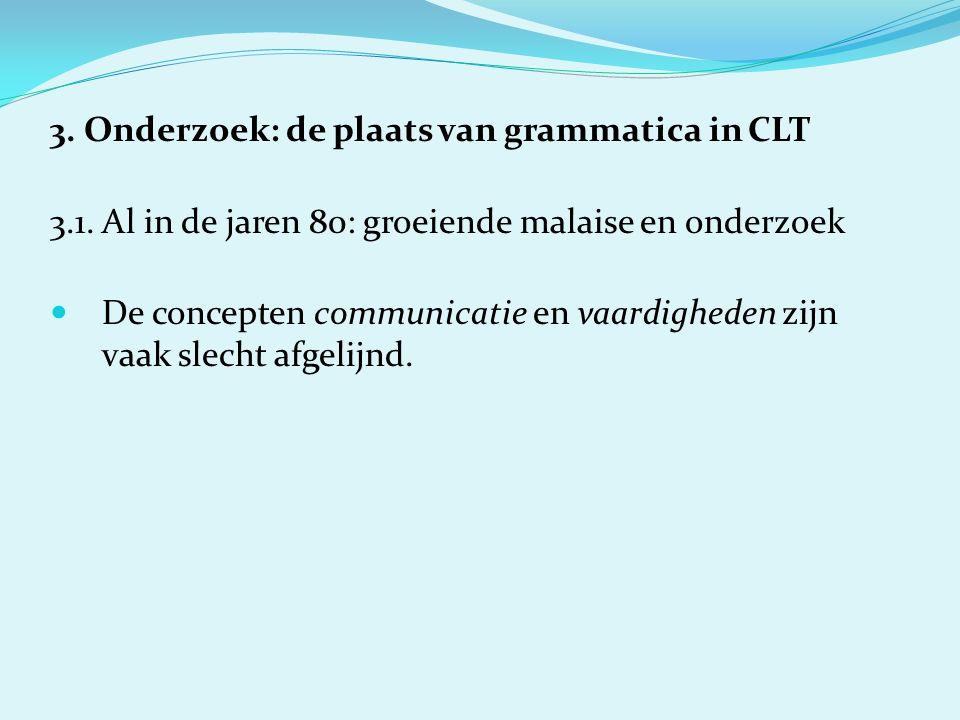 3. Onderzoek: de plaats van grammatica in CLT 3.1.