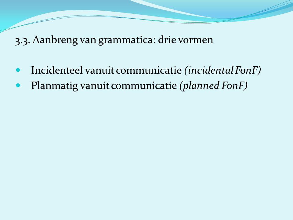 3.3. Aanbreng van grammatica: drie vormen Incidenteel vanuit communicatie (incidental FonF) Planmatig vanuit communicatie (planned FonF)