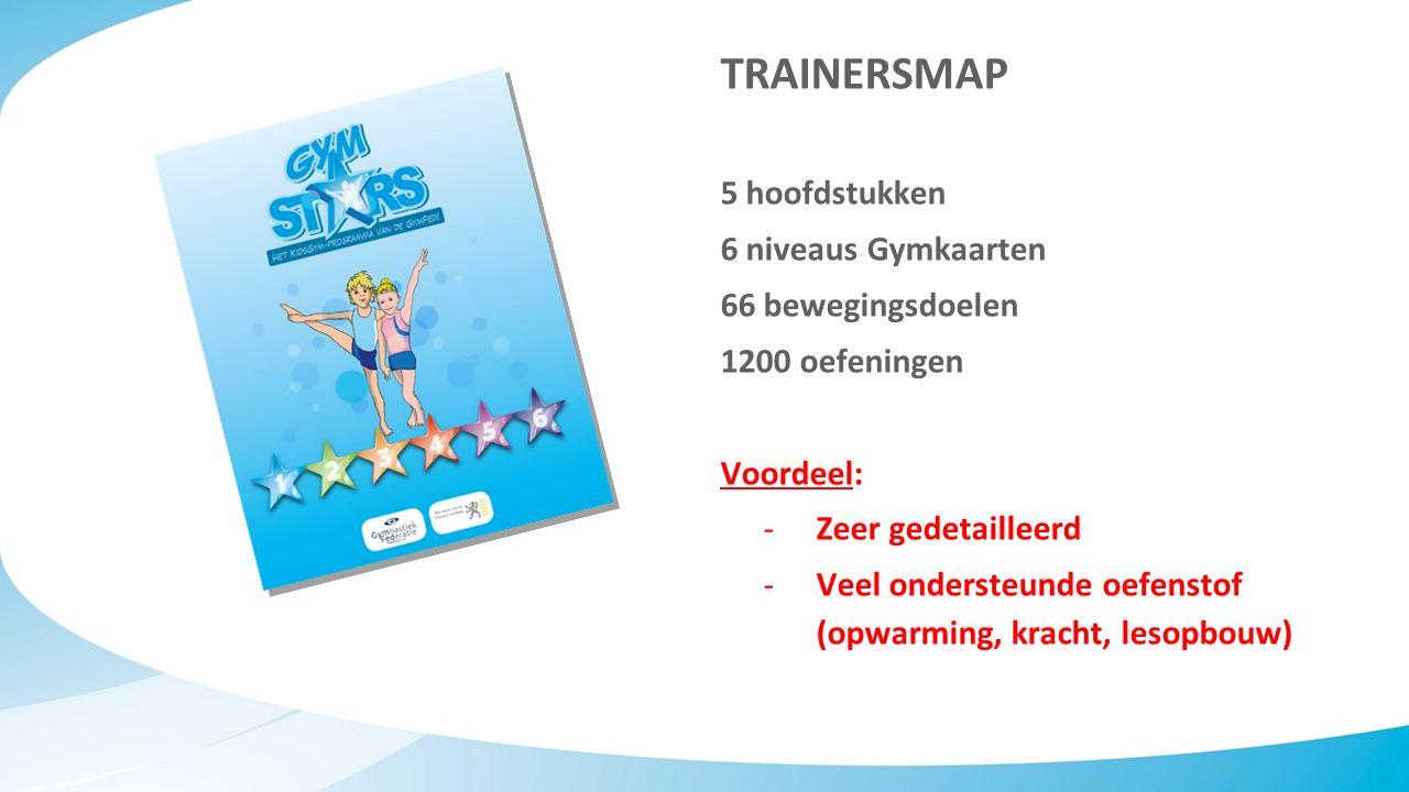TRAINERSMAP 5 hoofdstukken 6 niveaus Gymkaarten 66 bewegingsdoelen 1200 oefeningen Voordeel: -Zeer gedetailleerd -Veel ondersteunde oefenstof (opwarming, kracht, lesopbouw)