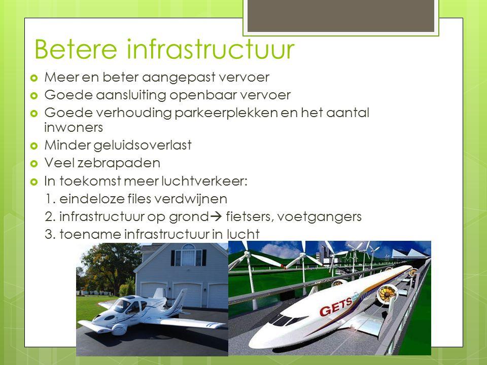 Betere infrastructuur  Meer en beter aangepast vervoer  Goede aansluiting openbaar vervoer  Goede verhouding parkeerplekken en het aantal inwoners  Minder geluidsoverlast  Veel zebrapaden  In toekomst meer luchtverkeer: 1.