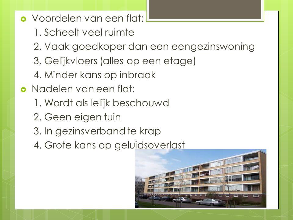  Voordelen van een flat: 1. Scheelt veel ruimte 2. Vaak goedkoper dan een eengezinswoning 3. Gelijkvloers (alles op een etage) 4. Minder kans op inbr