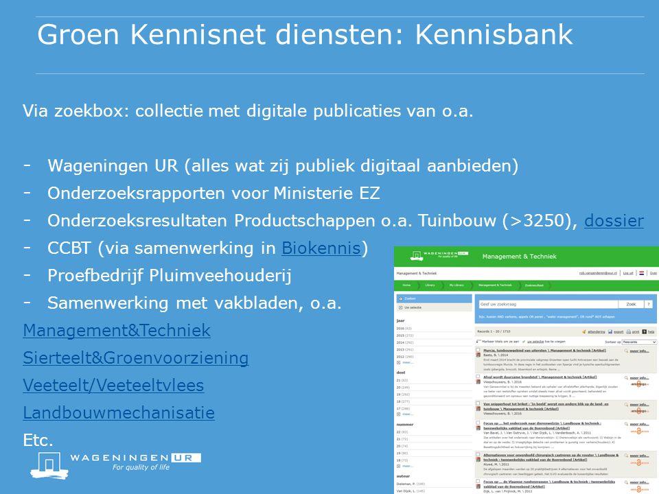 Via zoekbox: collectie met digitale publicaties van o.a.
