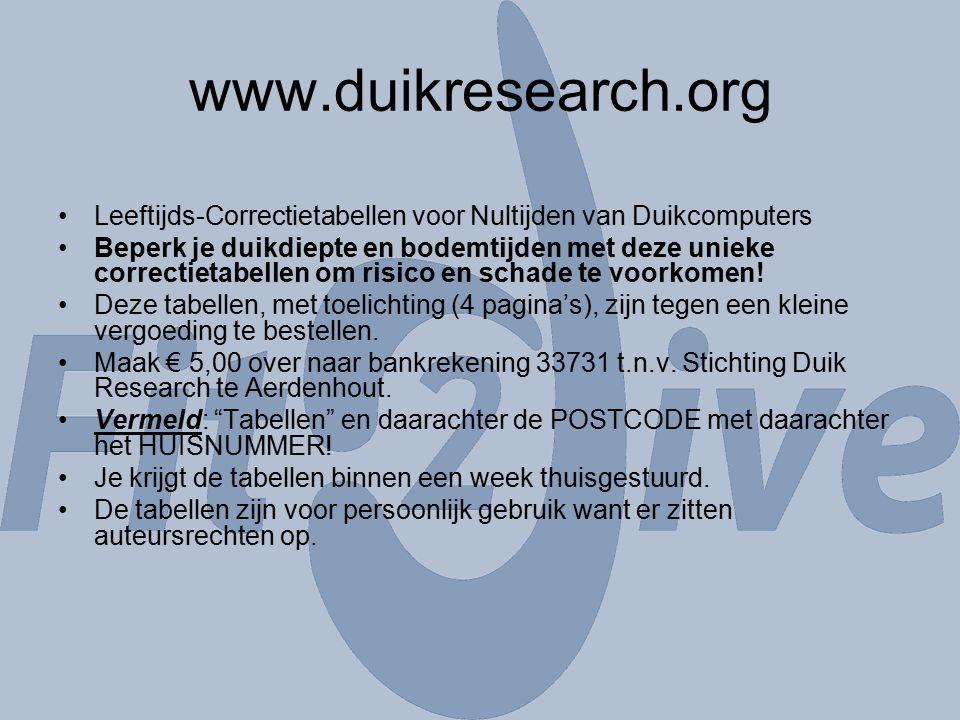 www.duikresearch.org Leeftijds-Correctietabellen voor Nultijden van Duikcomputers Beperk je duikdiepte en bodemtijden met deze unieke correctietabellen om risico en schade te voorkomen.