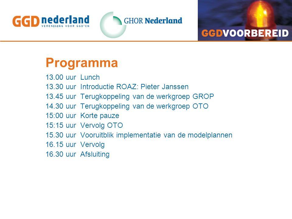 Programma 13.00 uur Lunch 13.30 uur Introductie ROAZ: Pieter Janssen 13.45 uur Terugkoppeling van de werkgroep GROP 14.30 uur Terugkoppeling van de werkgroep OTO 15:00 uur Korte pauze 15:15 uur Vervolg OTO 15.30 uur Vooruitblik implementatie van de modelplannen 16.15 uur Vervolg 16.30 uur Afsluiting