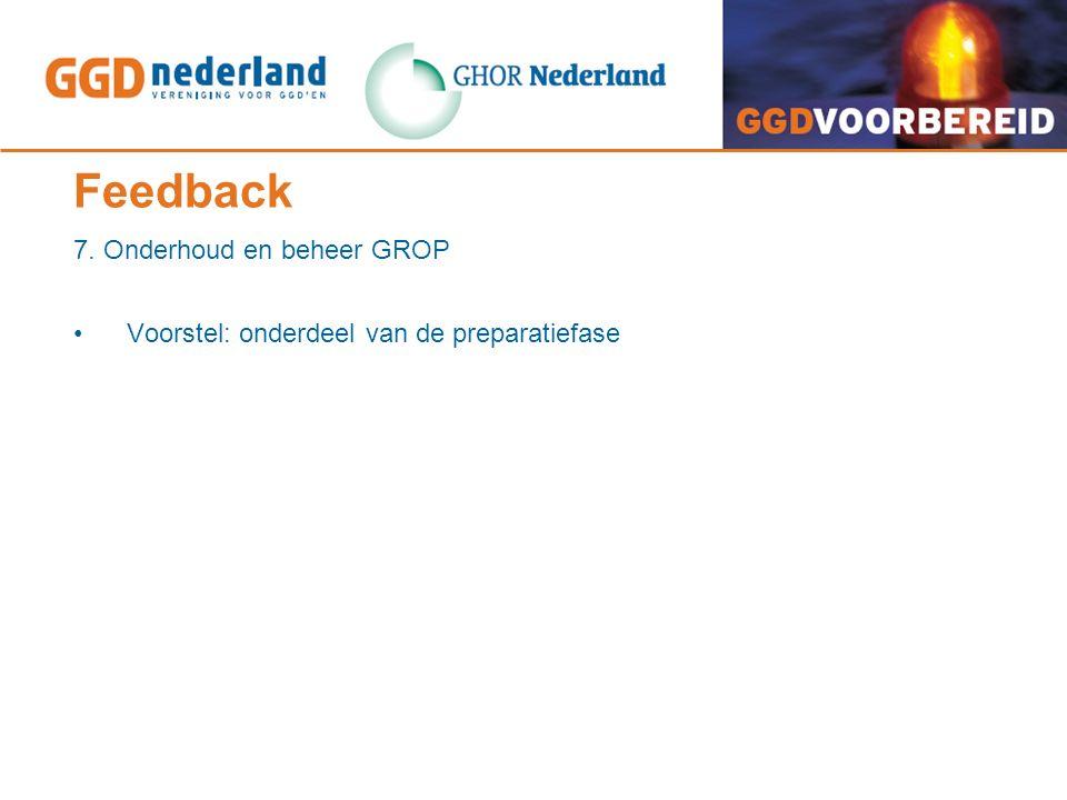 Feedback 7. Onderhoud en beheer GROP Voorstel: onderdeel van de preparatiefase