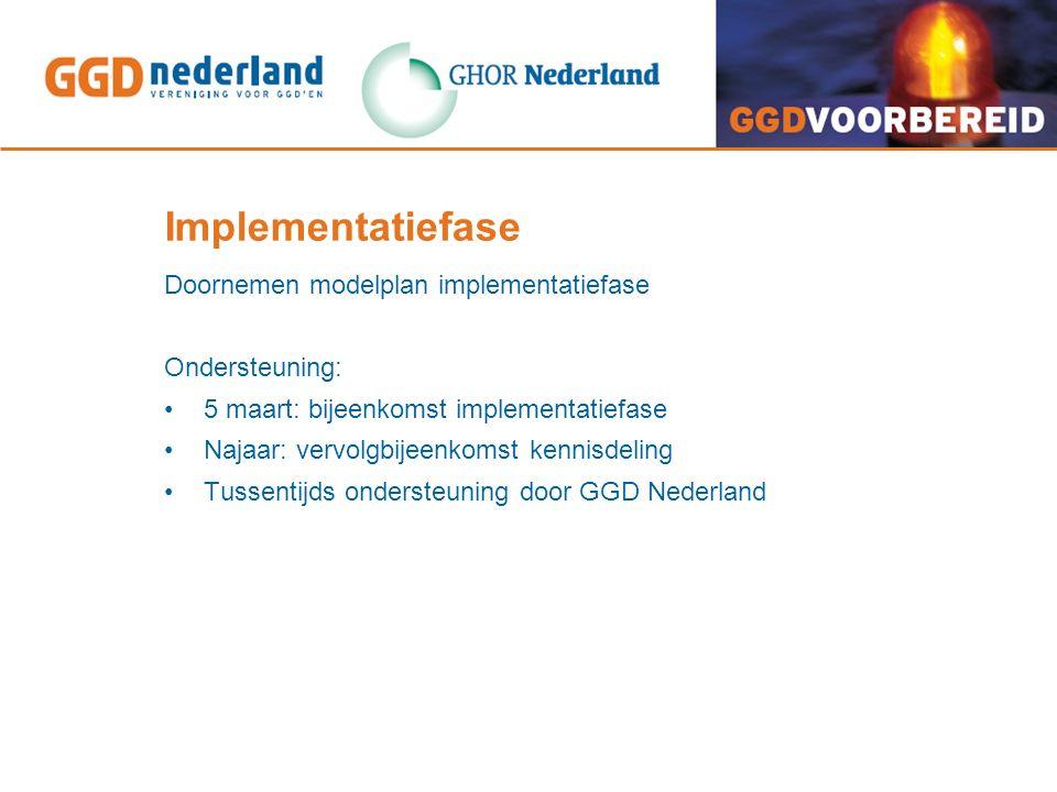 Implementatiefase Doornemen modelplan implementatiefase Ondersteuning: 5 maart: bijeenkomst implementatiefase Najaar: vervolgbijeenkomst kennisdeling Tussentijds ondersteuning door GGD Nederland