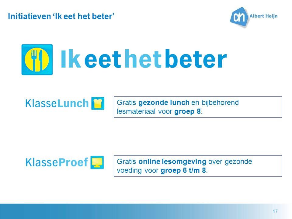 17 Initiatieven 'Ik eet het beter' Gratis gezonde lunch en bijbehorend lesmateriaal voor groep 8. Gratis online lesomgeving over gezonde voeding voor