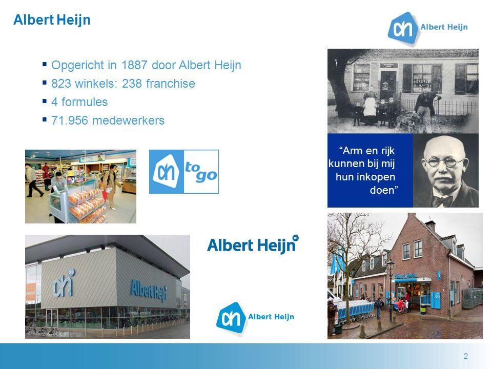 2 Albert Heijn  Opgericht in 1887 door Albert Heijn  823 winkels: 238 franchise  4 formules  71.956 medewerkers Arm en rijk kunnen bij mij hun inkopen doen