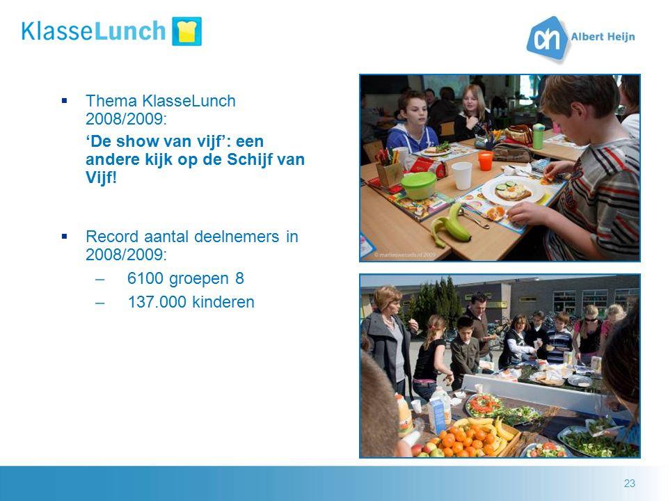 23  Thema KlasseLunch 2008/2009: 'De show van vijf': een andere kijk op de Schijf van Vijf!  Record aantal deelnemers in 2008/2009: –6100 groepen 8