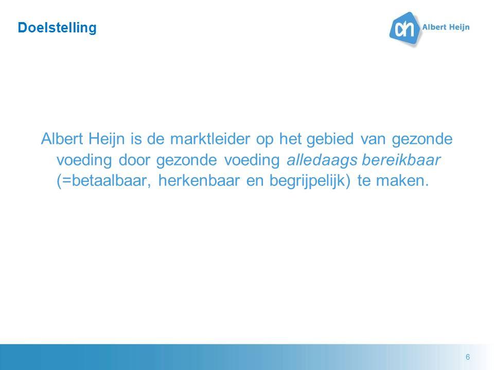 6 Doelstelling Albert Heijn is de marktleider op het gebied van gezonde voeding door gezonde voeding alledaags bereikbaar (=betaalbaar, herkenbaar en