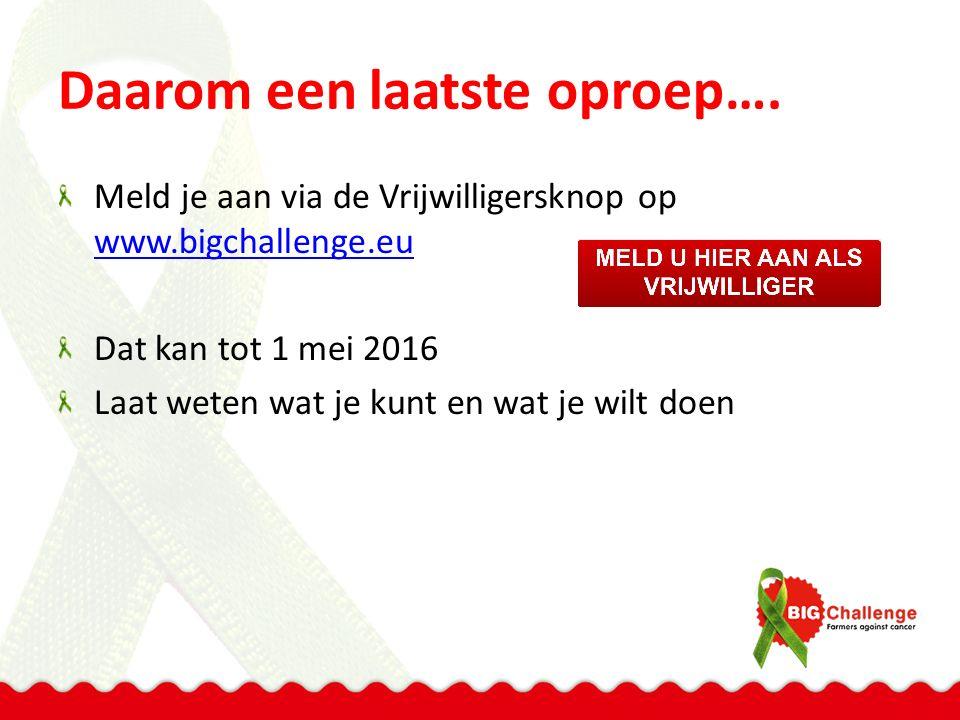 Daarom een laatste oproep…. Meld je aan via de Vrijwilligersknop op www.bigchallenge.eu www.bigchallenge.eu Dat kan tot 1 mei 2016 Laat weten wat je k