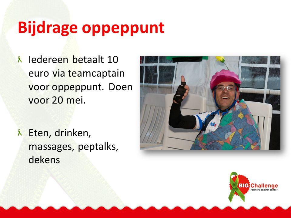 Bijdrage oppeppunt Iedereen betaalt 10 euro via teamcaptain voor oppeppunt. Doen voor 20 mei. Eten, drinken, massages, peptalks, dekens
