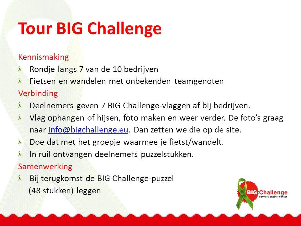 Tour BIG Challenge Kennismaking Rondje langs 7 van de 10 bedrijven Fietsen en wandelen met onbekenden teamgenoten Verbinding Deelnemers geven 7 BIG Challenge-vlaggen af bij bedrijven.