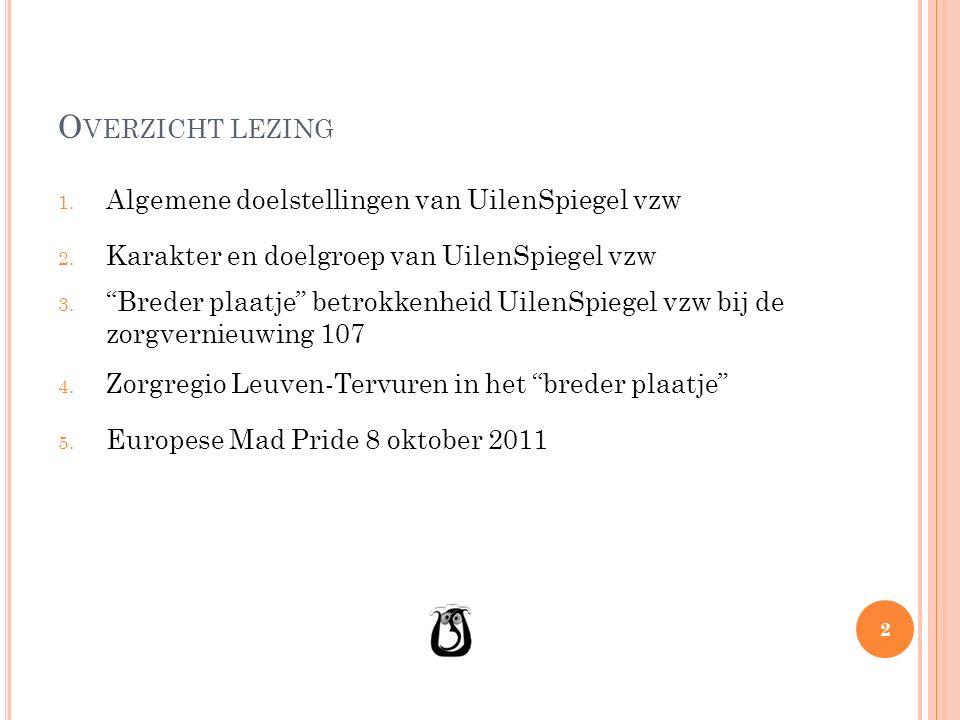 O VERZICHT LEZING 1. Algemene doelstellingen van UilenSpiegel vzw 2.