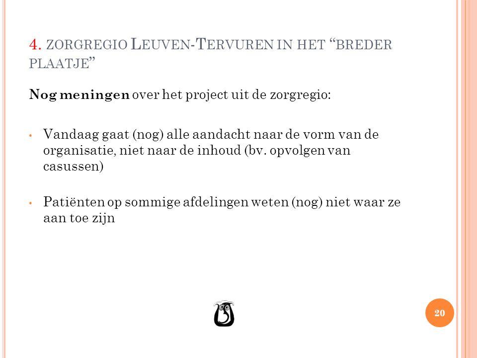 """4. ZORGREGIO L EUVEN -T ERVUREN IN HET """" BREDER PLAATJE """" Nog meningen over het project uit de zorgregio: Vandaag gaat (nog) alle aandacht naar de vor"""