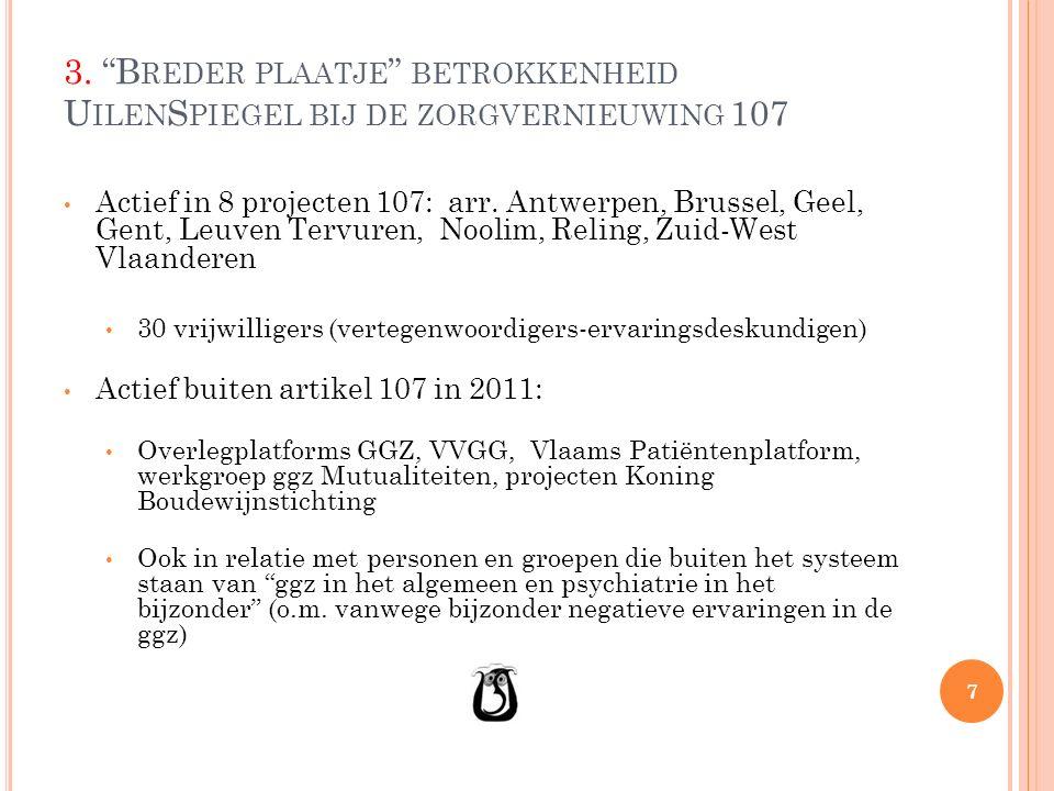 """3. """"B REDER PLAATJE """" BETROKKENHEID U ILEN S PIEGEL BIJ DE ZORGVERNIEUWING 107 Actief in 8 projecten 107: arr. Antwerpen, Brussel, Geel, Gent, Leuven"""