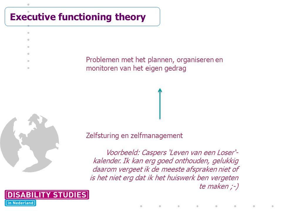Executive functioning theory Prob Problemen met het plannen, organiseren en monitoren van het eigen gedrag Zelfsturing en zelfmanagement Voorbeeld: Ca