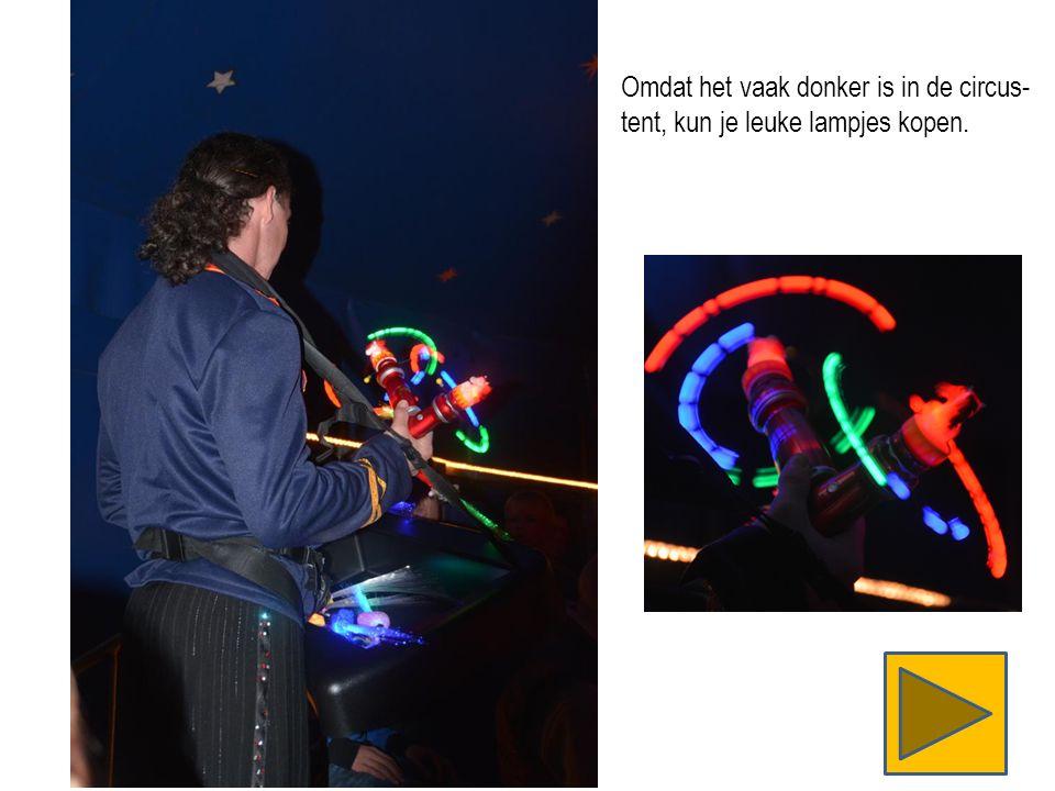 Omdat het vaak donker is in de circus- tent, kun je leuke lampjes kopen.