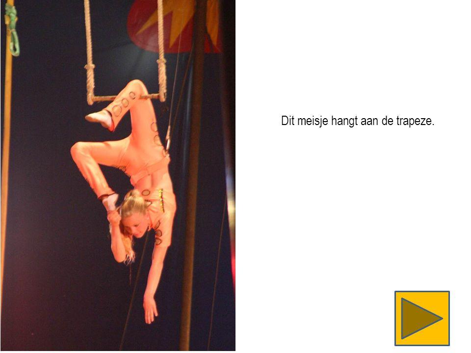 Dit meisje hangt aan de trapeze.