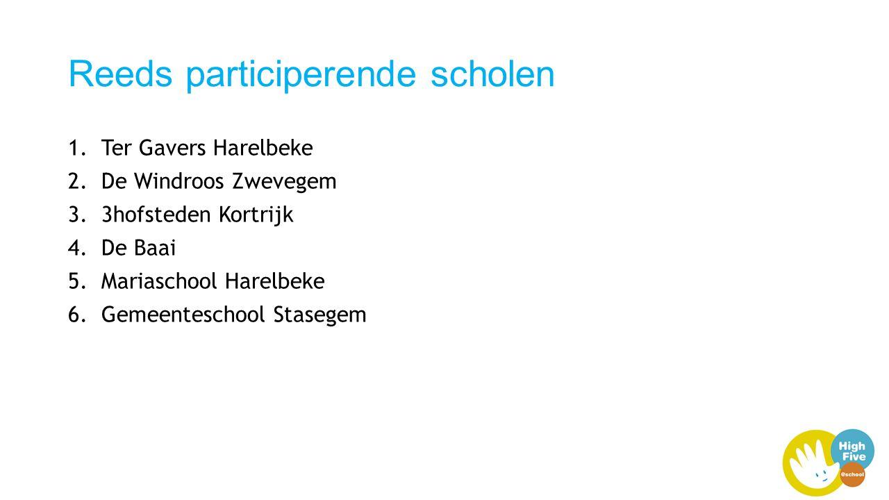 Reeds participerende scholen 1.Ter Gavers Harelbeke 2.De Windroos Zwevegem 3.3hofsteden Kortrijk 4.De Baai 5.Mariaschool Harelbeke 6.Gemeenteschool Stasegem