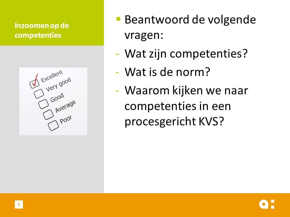 Inzoomen op de competenties  Beantwoord de volgende vragen: -Wat zijn competenties? -Wat is de norm? -Waarom kijken we naar competenties in een proce