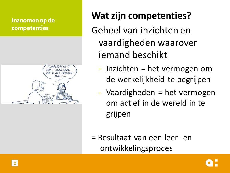 Inzoomen op de competenties Wat zijn competenties? Geheel van inzichten en vaardigheden waarover iemand beschikt -Inzichten = het vermogen om de werke