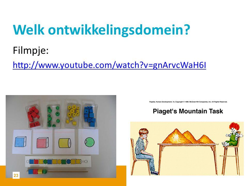 Welk ontwikkelingsdomein? Filmpje: http://www.youtube.com/watch?v=gnArvcWaH6I 23
