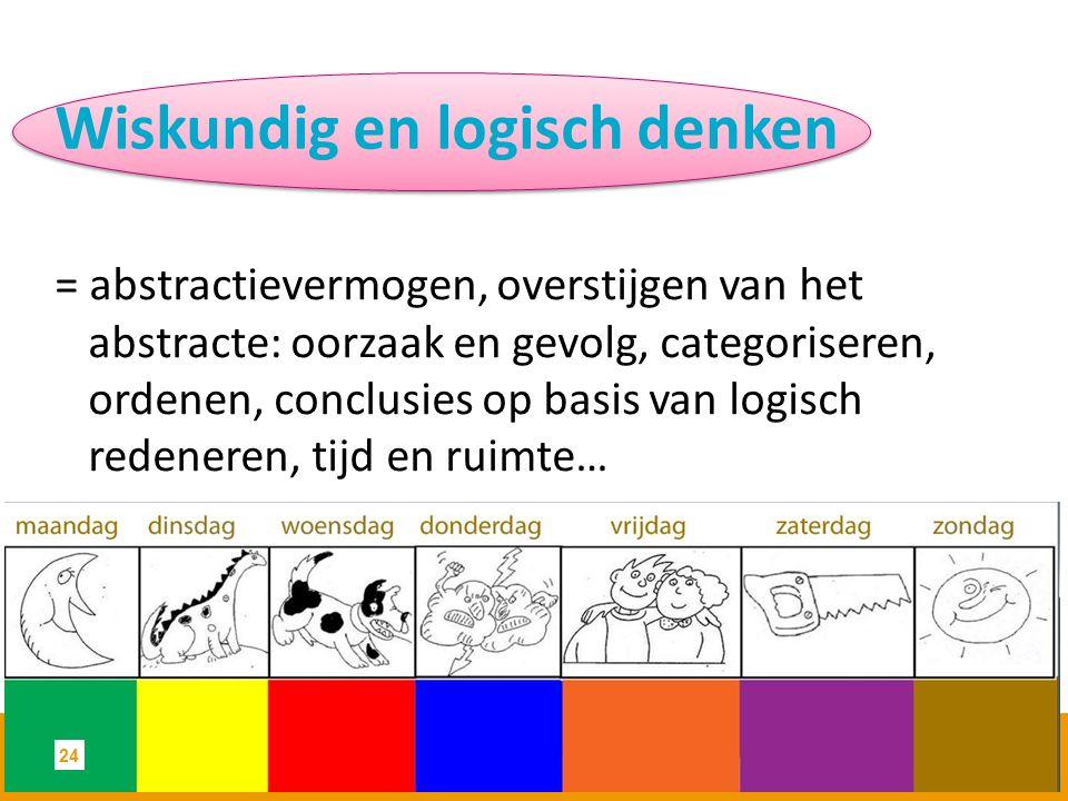 Wiskundig en logisch denken = abstractievermogen, overstijgen van het abstracte: oorzaak en gevolg, categoriseren, ordenen, conclusies op basis van logisch redeneren, tijd en ruimte… 24