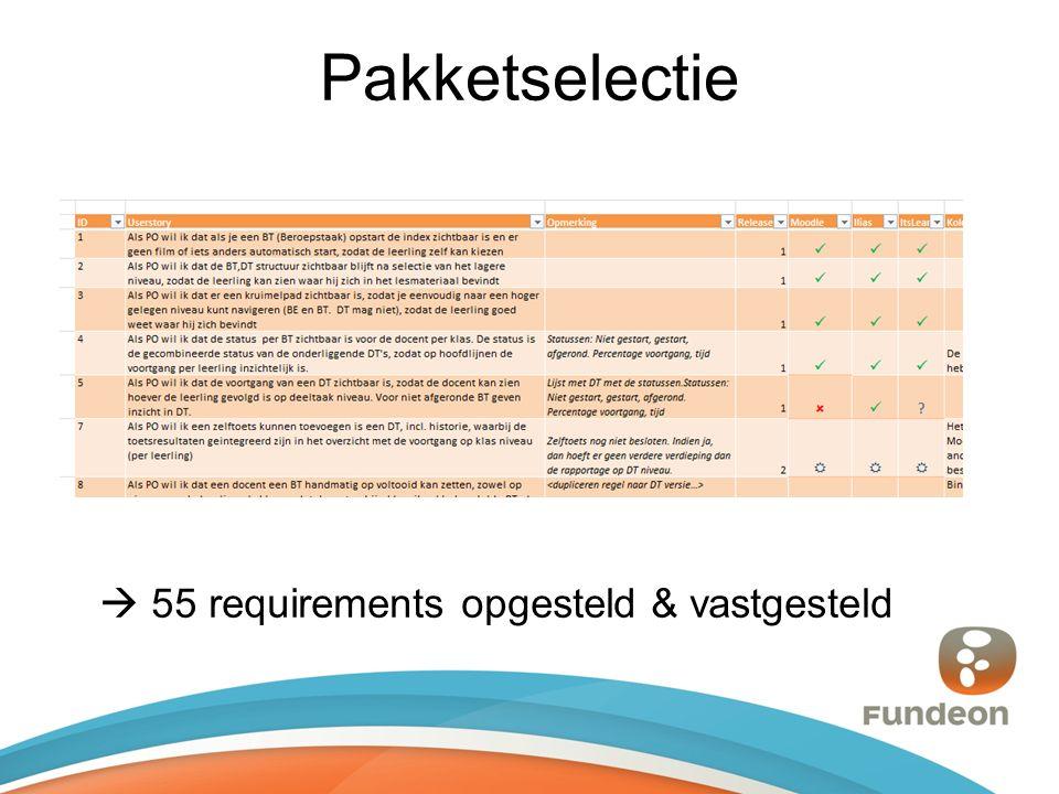 Pakketselectie  55 requirements opgesteld & vastgesteld