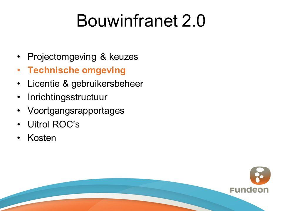 Bouwinfranet 2.0 Projectomgeving & keuzes Technische omgeving Licentie & gebruikersbeheer Inrichtingsstructuur Voortgangsrapportages Uitrol ROC's Kosten