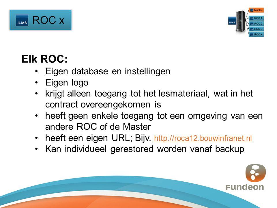 ROC x Eigen database en instellingen Eigen logo krijgt alleen toegang tot het lesmateriaal, wat in het contract overeengekomen is heeft geen enkele toegang tot een omgeving van een andere ROC of de Master heeft een eigen URL; Bijv.