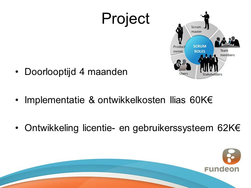 Project Doorlooptijd 4 maanden Implementatie & ontwikkelkosten Ilias 60K€ Ontwikkeling licentie- en gebruikerssysteem 62K€