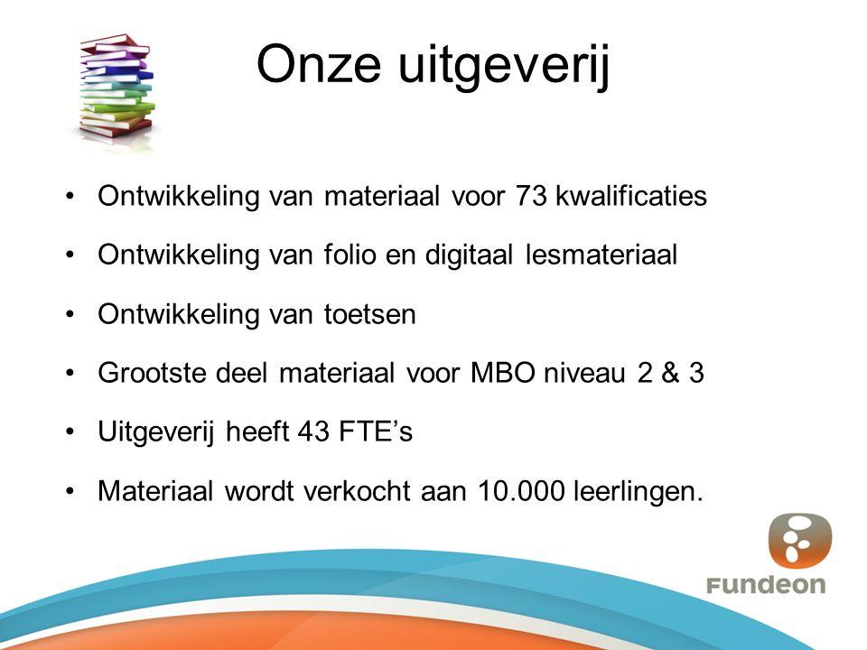 Onze uitgeverij Ontwikkeling van materiaal voor 73 kwalificaties Ontwikkeling van folio en digitaal lesmateriaal Ontwikkeling van toetsen Grootste deel materiaal voor MBO niveau 2 & 3 Uitgeverij heeft 43 FTE's Materiaal wordt verkocht aan 10.000 leerlingen.