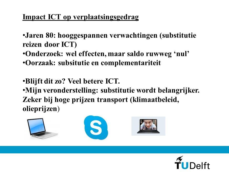 Impact ICT op verplaatsingsgedrag Jaren 80: hooggespannen verwachtingen (substitutie reizen door ICT) Onderzoek: wel effecten, maar saldo ruwweg 'nul' Oorzaak: subsitutie en complementariteit Blijft dit zo.