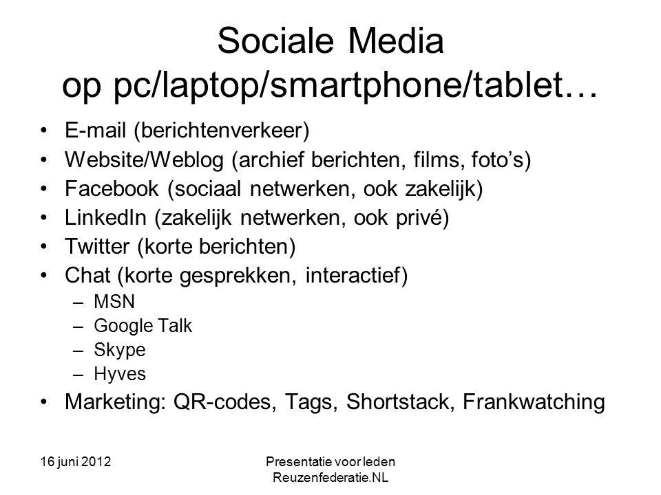 16 juni 2012Presentatie voor leden Reuzenfederatie.NL Facebook Voor sociaal verkeer, niet alleen privé –Vriendenclub –Hobby's, kennis delen (Publiek/individueel) –Sociale controle –Politiek engagement Ook voor zakelijke toepassingen –Marketing (koppeling met twitter en linkedin) –kennisuitwisseling