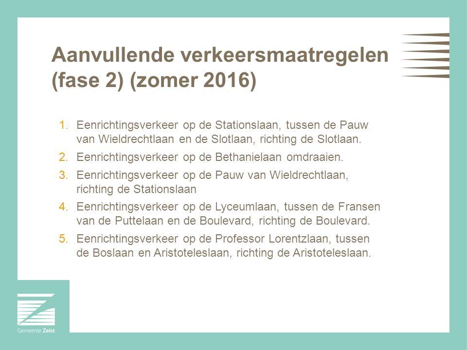 Aanvullende verkeersmaatregelen (fase 2) (zomer 2016) 1.Eenrichtingsverkeer op de Stationslaan, tussen de Pauw van Wieldrechtlaan en de Slotlaan, richting de Slotlaan.