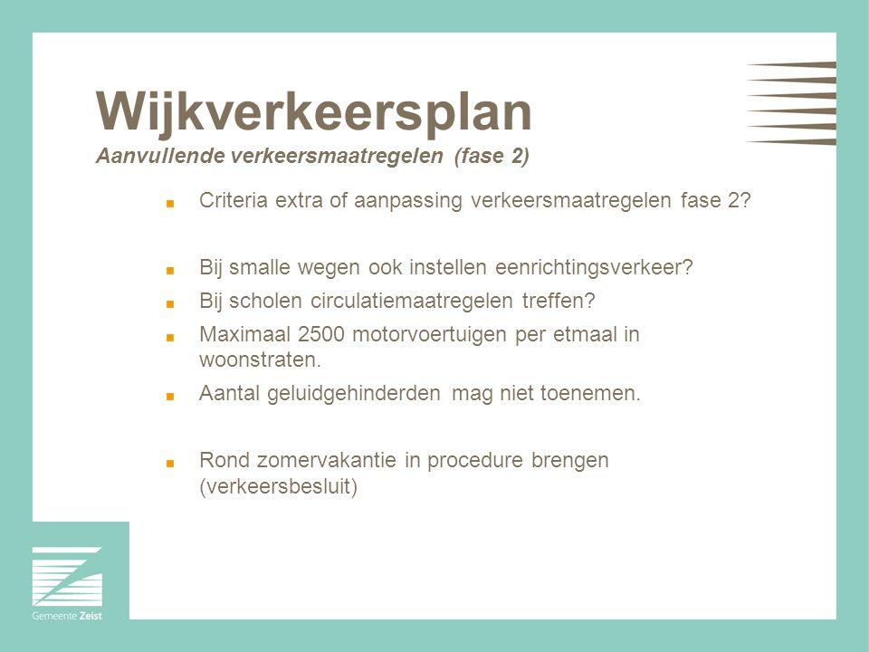 Wijkverkeersplan Aanvullende verkeersmaatregelen (fase 2) Criteria extra of aanpassing verkeersmaatregelen fase 2? Bij smalle wegen ook instellen eenr