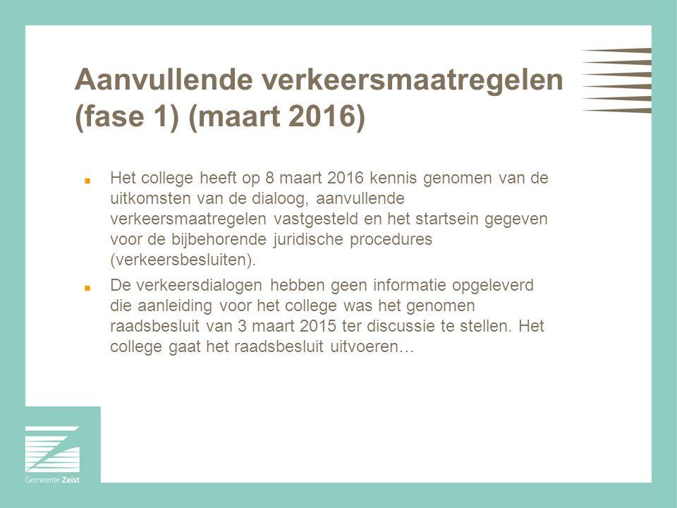 Aanvullende verkeersmaatregelen (fase 1) (maart 2016) Het college heeft op 8 maart 2016 kennis genomen van de uitkomsten van de dialoog, aanvullende verkeersmaatregelen vastgesteld en het startsein gegeven voor de bijbehorende juridische procedures (verkeersbesluiten).
