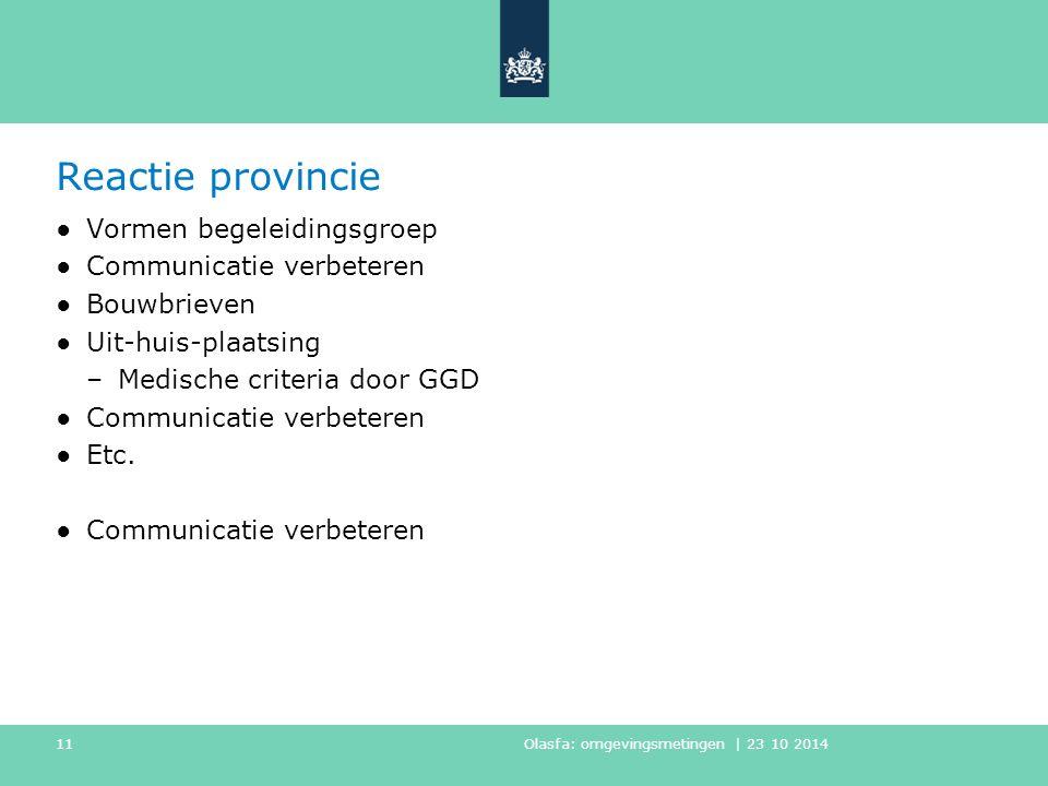 Reactie provincie ●Vormen begeleidingsgroep ●Communicatie verbeteren ●Bouwbrieven ●Uit-huis-plaatsing –Medische criteria door GGD ●Communicatie verbeteren ●Etc.