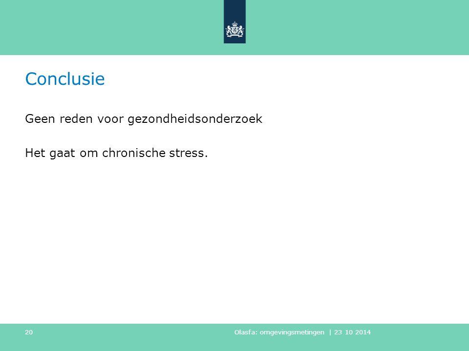 Conclusie Geen reden voor gezondheidsonderzoek Het gaat om chronische stress.