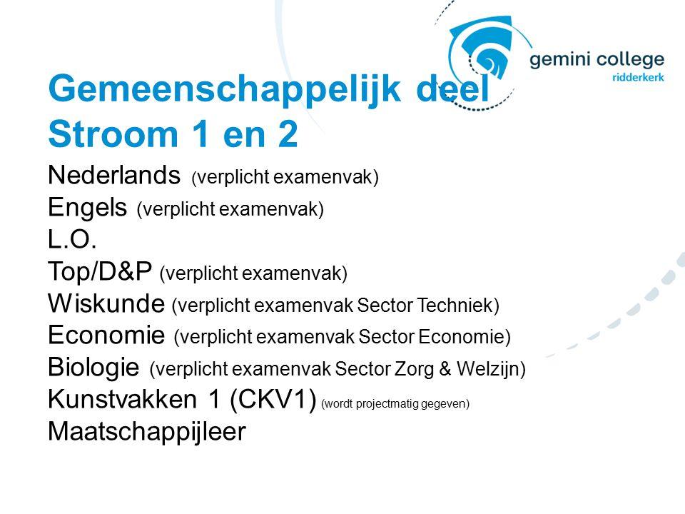 Gemeenschappelijk deel Stroom 1 en 2 Nederlands ( verplicht examenvak) Engels (verplicht examenvak) L.O.